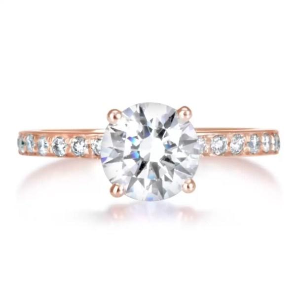 1.7 Carat Round Cut Diamond Engagement Ring 14K Rose Gold 2