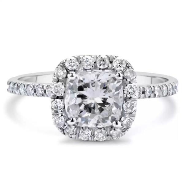1.70 Ct Cushion Cut DSi1 Diamond Solitaire Engagement Ring 14K White Gold 3