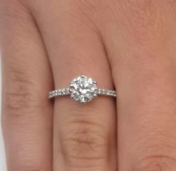 1.75 Ct Round Cut DSi1 Diamond Solitaire Engagement Ring 14K White Gold 2