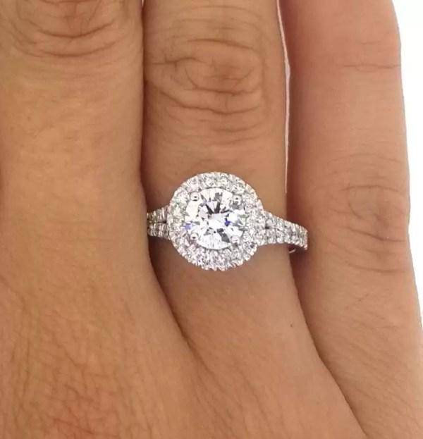 1.9 Carat Round Cut Diamond Engagement Ring 18K White Gold 2