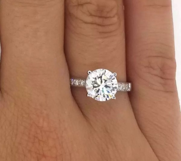 2 12 Ct Round Cut D/Vs2 Diamond Solitaire Engagement Ring 18K White Gold