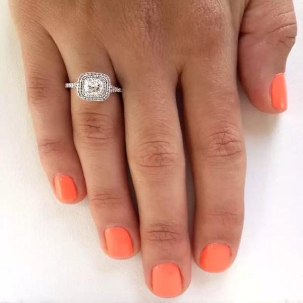 2 Carat Cushion Cut Diamond Engagement Ring 14K White Gold 2