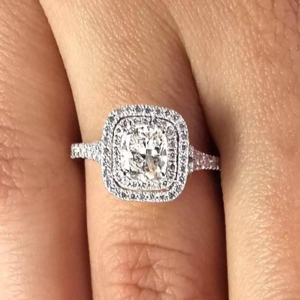 2 Carat Cushion Cut Diamond Engagement Ring 14K White Gold