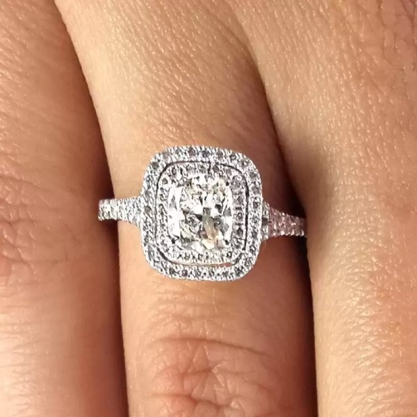 2 Carat Cushion Cut Diamond Engagement Ring 14K White Gold