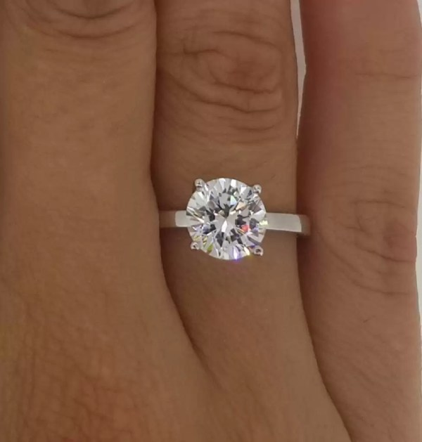 2 Carat Round Cut Diamond Engagement Ring 14K White Gold 3
