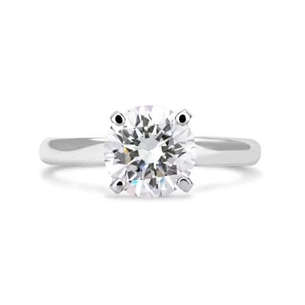 2 Carat Round Cut Diamond Engagement Ring 14K White Gold 4
