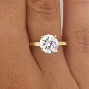 2 Carat Round Cut Diamond Engagement Ring 14K Yellow Gold