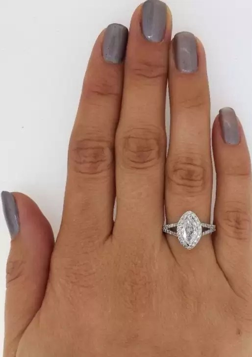 2 Ct Marquise Cut D S1 Diamond Solitaire Engagement Ring 14K White Gold 3