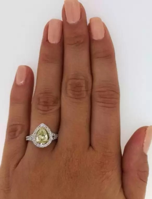 2.00 Ct Pear Shape Fancy Yellow Diamond Solitaire Engagement Ring 18K Gold 2