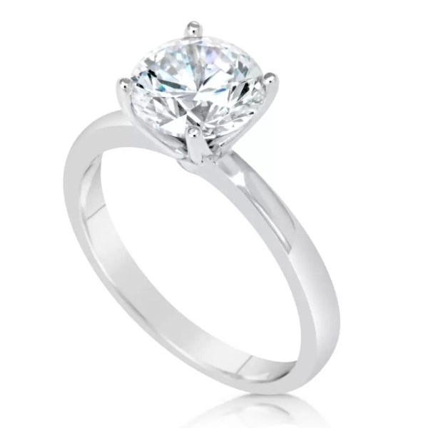 2.00 Ct Round Cut Diamond Solitaire Engagement Ring 14K White Gold