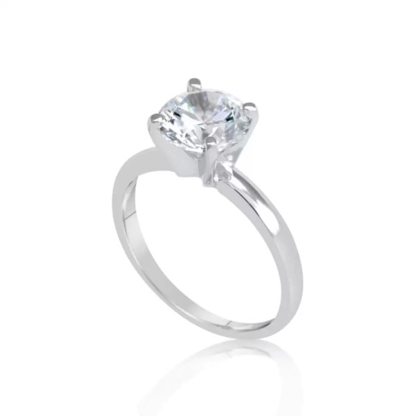 2.00 Ct Round Cut F Vs2 Diamond Solitaire Engagement Ring 14K White Gold 3
