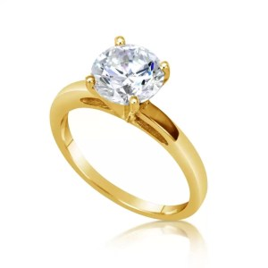 2.00 Ct Round Cut Vs1 Diamond Solitaire Engagement Ring 14K Yellow Gold