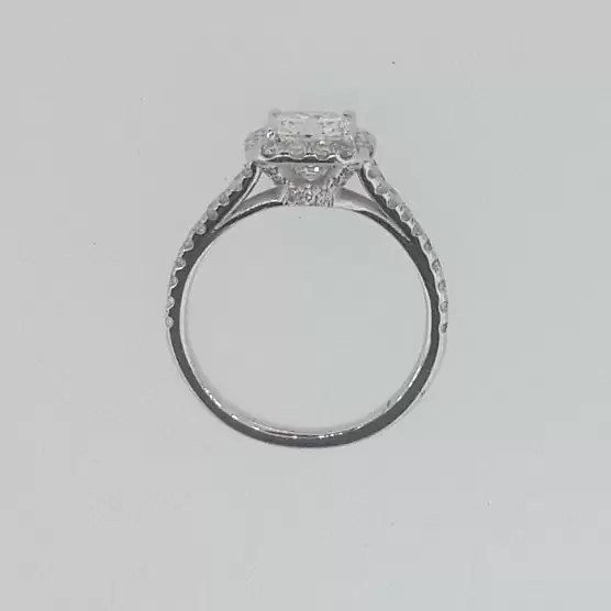 2.01 Ct Cushion Cut Diamond Solitaire Engagement Ring 18K White Gold 4