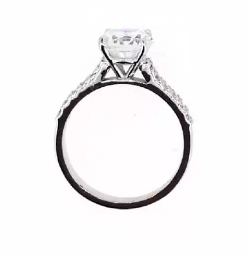 2.1 Carat Round Cut Diamond Engagement Ring 14K White Gold 2