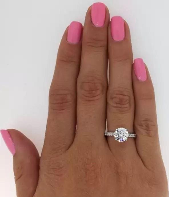 2.1 Carat Round Cut Diamond Engagement Ring 14K White Gold 3