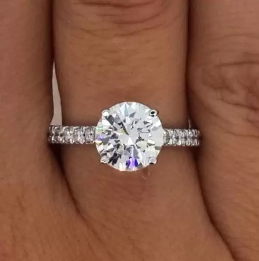 21 Carat Round Cut Diamond Engagement Ring Ara Diamonds
