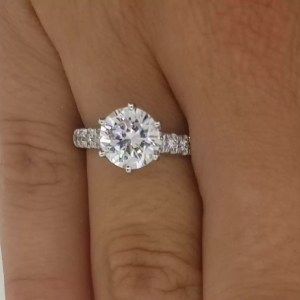 2.15 Ct Round Cut Diamond Solitaire Engagement Ring 18K White Gold