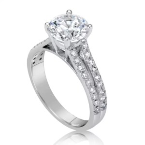 2.2 Carat Round Cut Diamond Engagement Ring 14K White Gold