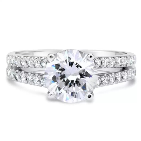 2.2 Carat Round Cut Diamond Engagement Ring 14K White Gold 4