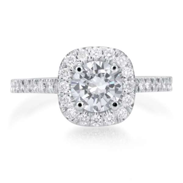 2.25 Carat Round Cut Diamond Engagement Ring 18K White Gold 4