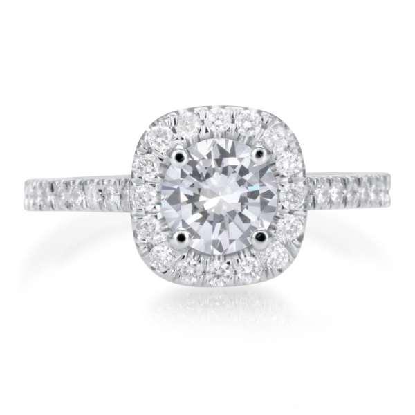 2.25 Carat Round Cut Diamond Engagement Ring 18K White Gold 4