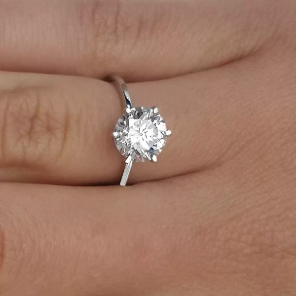 2.25 Ct Round Cut F Vs2 Diamond Solitaire Engagement Ring 14K White Gold
