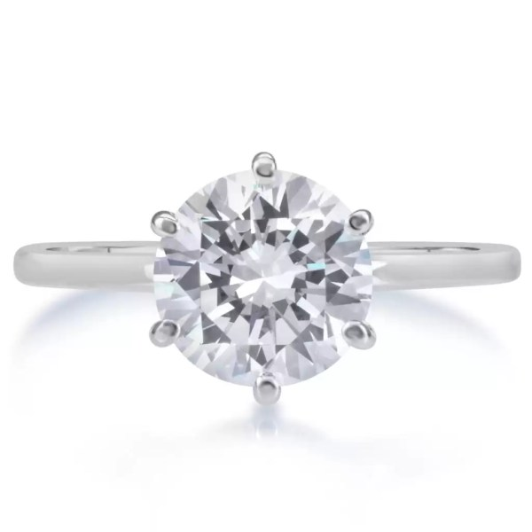 2.25 Ct Round Cut F Vs2 Diamond Solitaire Engagement Ring 14K White Gold 3