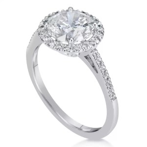 2.3 Carat Round Cut Diamond Engagement Ring 14K White Gold