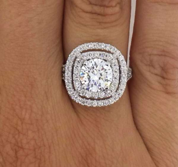 2.32 Ct Round Cut Si1 Diamond Solitaire Engagement Ring 14K White Gold 2