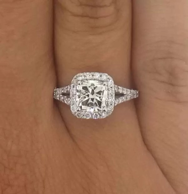 2.4 Carat Cushion Cut Diamond Engagement Ring 18K White Gold