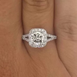 2.4 Carat Cushion Cut Diamond Engagement Ring 18K White Gold