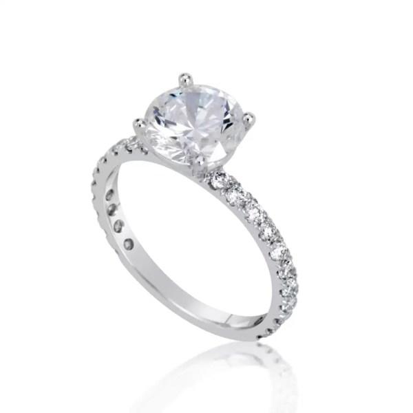 2.5 Carat Round Cut Diamond Engagement Ring 14K White Gold