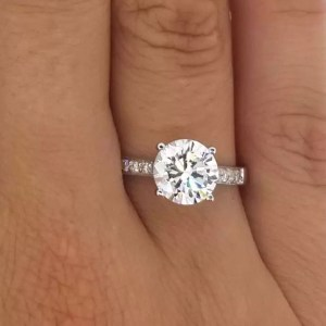 2.5 Carat Round Cut Diamond Engagement Ring 18K White Gold