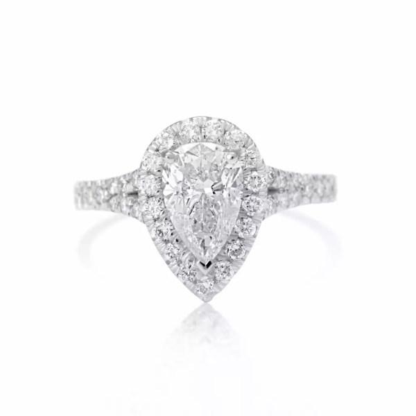 2.5 Ct Pear Shape Cut DSi1 Diamond Solitaire Engagement Ring 18K White Gold 3