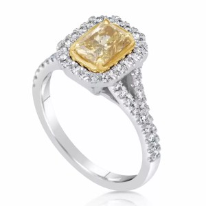 2.50 Ct Radiant Cut Fancy Yellow Halo Diamond Solitaire Engagement Ring 18K Gold
