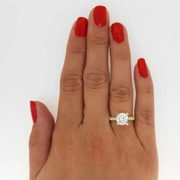 2.52 Carat Round Cut Diamond Engagement Ring 14K Yellow Gold 3