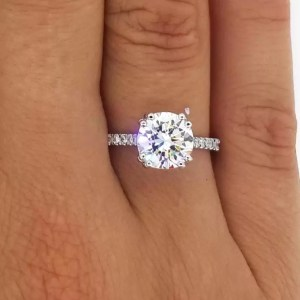 2.52 Ct Round Cut D/Si1 Diamond Solitaire Engagement Ring 14K White Gold