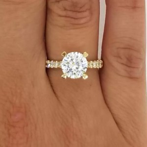 2.52 Ct Round Cut Diamond Solitaire Engagement Ring 14K Yellow Gold