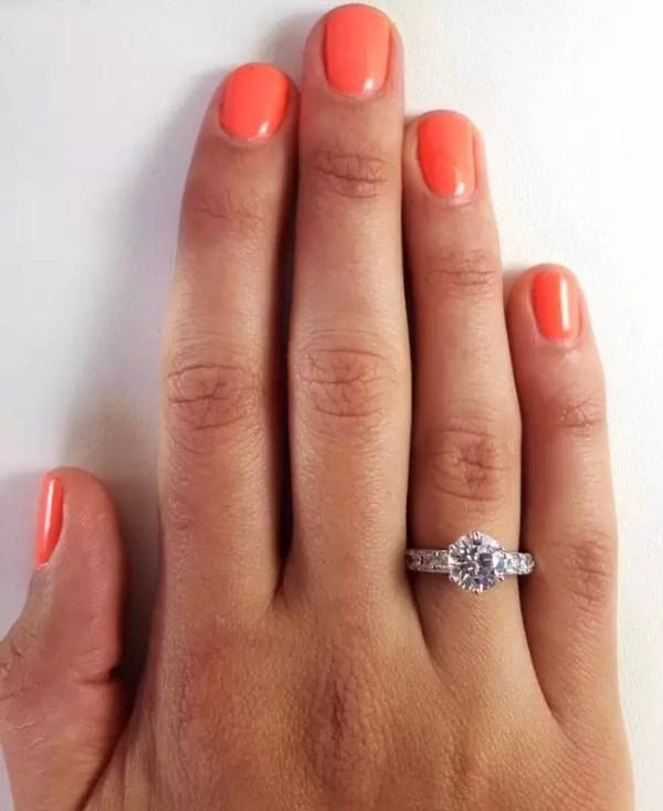 2.7 Carat Round Cut Diamond Engagement Ring 14K White Gold 3