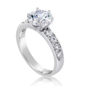 2.7 carat round cut diamond engagement ring