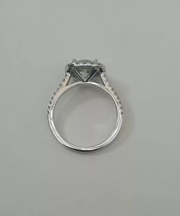 2.78 Ct Round Cut DSi1 Diamond Halo Solitaire Engagement Ring 14K White Gold 4
