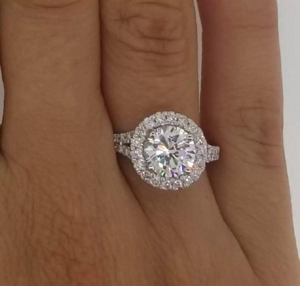 2.85 Carat Round Cut Diamond Engagement Ring 14K White Gold 4