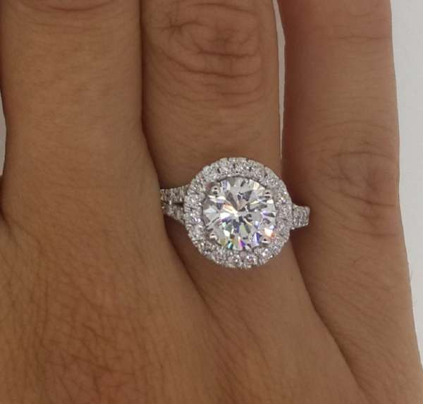 2.85 Carat Round Cut Diamond Engagement Ring 18K White Gold 2