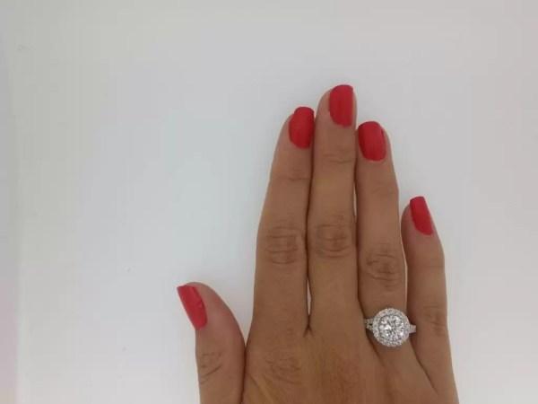 2.85 Carat Round Cut Diamond Engagement Ring 18K White Gold 3