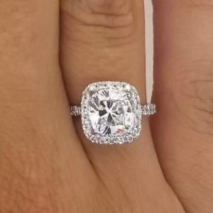 3 Carat Round Cut Diamond Engagement Ring 18K White Gold
