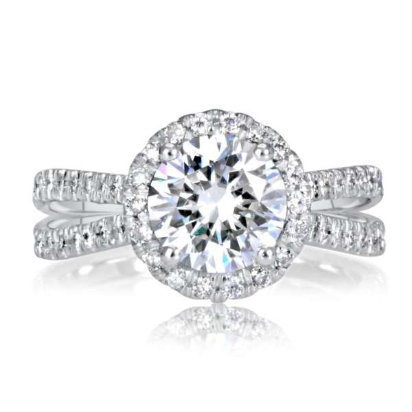 3.00 Ct Round Cut DVs2 Diamond Solitaire Engagement Ring 14K White Gold 3
