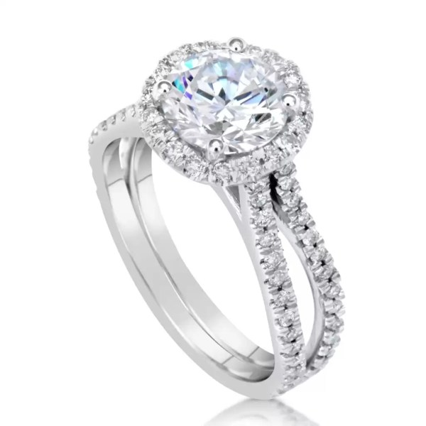 3.00 Ct Round Cut D/Vs2 Diamond Solitaire Engagement Ring 14K White Gold