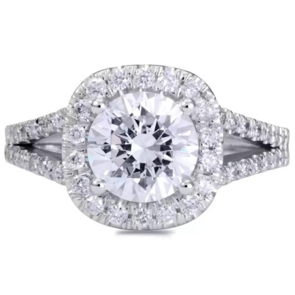 3.5 Carat Round Cut Diamond Engagement Ring 14K White Gold 4