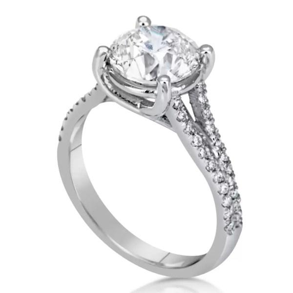 3.5 Carat Round Cut Diamond Engagement Ring 18K White Gold 3