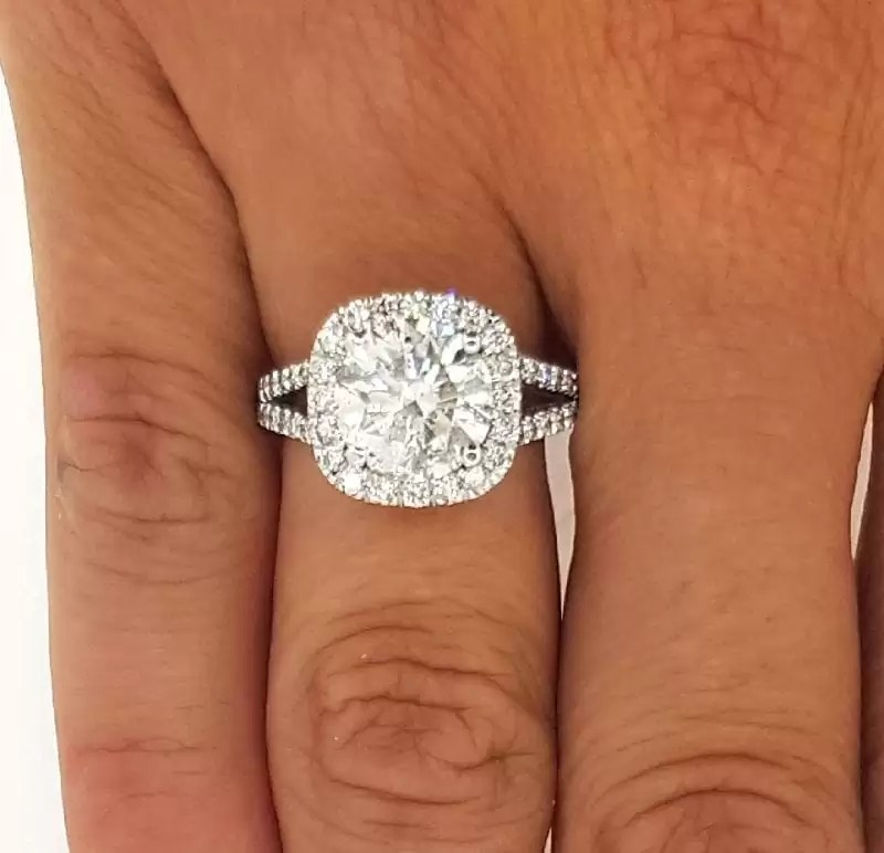 54b43c9a8f9 3.50 Ct Round Cut Diamond Engagement Ring 14K White Gold